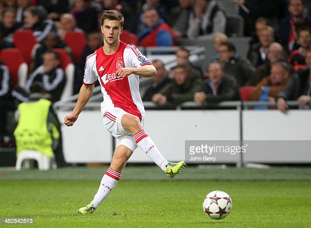 Joel Veltman of Ajax in action during the UEFA Champions League Group H match between Ajax Amsterdam and FC Barcelona at Amsterdam Arena on November...