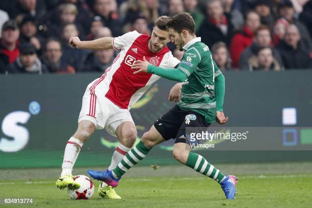 Joel Veltman of Ajax Ivan Calero Ruiz of Sparta Rotterdamduring the Dutch Eredivisie match between Ajax Amsterdam and Sparta Rotterdam at the...