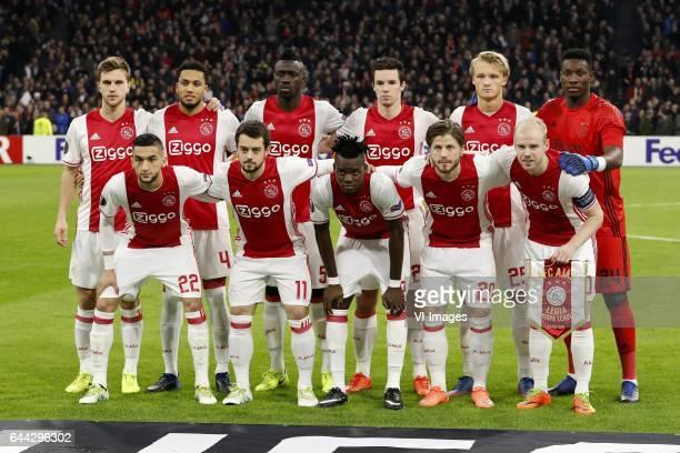 Joel Veltman of Ajax Jairo Riedewald of Ajax Davinson Sanchez of Ajax Nick Viergever of Ajax Kasper Dolberg of Ajax goalkeeper Andre Onana of Ajax...
