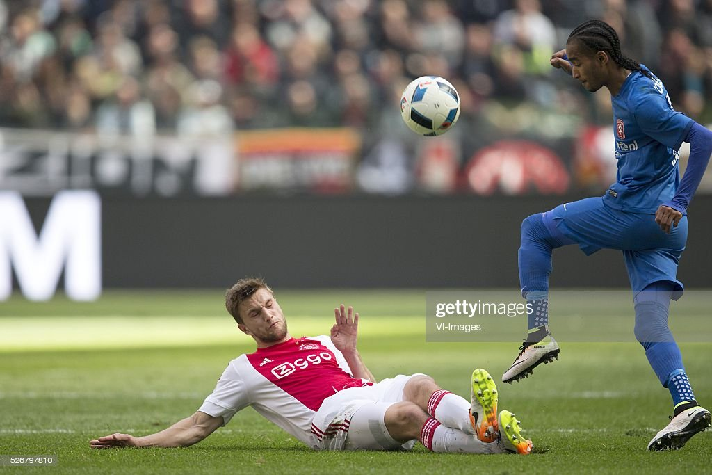Joel Veltman of Ajax, Jerson Cabral of FC Twente during the Dutch Eredivisie match between Ajax Amsterdam and FC Twente at the Amsterdam Arena on May 01, 2016 in Amsterdam, The Netherlands