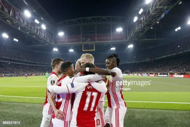 Joel Veltman of Ajax Justin Kluivert of Ajax Davy Klaassen of Ajax Amin Younes of Ajax Donny van de Beek of Ajax Bertrand Traore of Ajaxduring the...