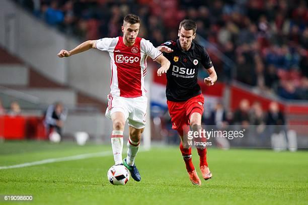 Joel Veltman of Ajax Kevin Vermeulen of Excelsiorduring the Dutch Eredivisie match between Ajax Amsterdam and sbv Excelsior at the Amsterdam Arena on...
