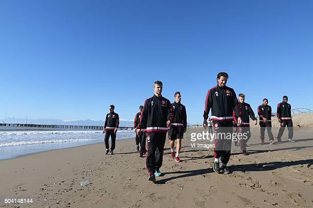 Joel Veltman of Ajax Mitchell Dijks of Ajax beach walk during the training camp of Ajax Amsterdam on January 9 2016 at Belek Turkey
