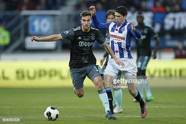 Joel Veltman of Ajax Pelle van Amersfoort of sc Heerenveenduring the Dutch Eredivisie match between sc Heerenveen and Ajax Amsterdam at Abe Lenstra...