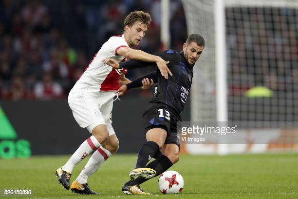 Joel Veltman of Ajax Valentin Eysseric of OCG Nice during the UEFA Champions League third round qualifying first leg match between Ajax Amsterdam and...