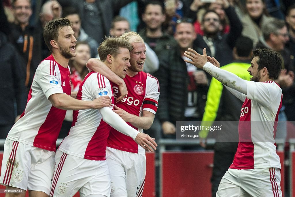 Joel Veltman of Ajax, Viktor Fischer of Ajax, Davy Klaassen of Ajax, Amin Younes of Ajax during the Dutch Eredivisie match between Ajax Amsterdam and FC Twente at the Amsterdam Arena on May 01, 2016 in Amsterdam, The Netherlands