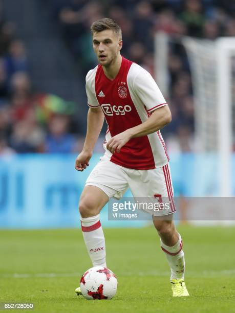 Joel Veltman of Ajaxduring the Dutch Eredivisie match between Ajax Amsterdam and FC Twente Enschede at the Amsterdam Arena on March 12 2017 in...