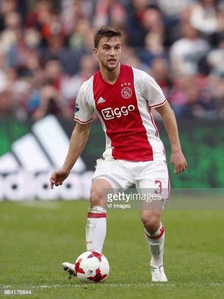 Joel Veltman of Ajaxduring the Dutch Eredivisie match between Ajax Amsterdam and Feyenoord Rotterdam at the Amsterdam Arena on April 02 2017 in...