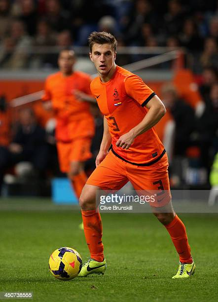 Joel Veltman of Netherlands in action during the friendly International match between the Netherlands and Colombia at the Amsterdam Arena on November...