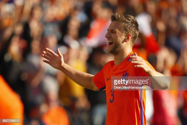 Joel Veltman of the Netherlands celebrates scoring his teams first goal of the game during the International Friendly match between the Netherlands...