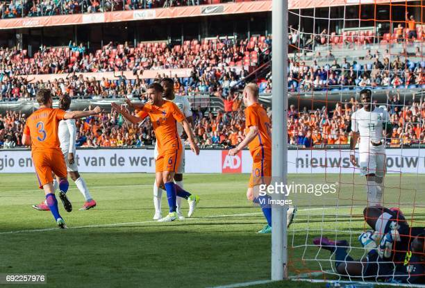 Joel Veltman of The Netherlands Kevin Strootman of The Netherlands Davy Klaassen of The Netherlandsduring the friendly match between The Netherlands...