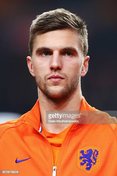 Joel Veltman of the Netherlands stands for the national anthem prior to the international friendly match between Netherlands and Belgium at Amsterdam...