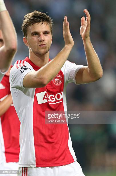 Joel Veltman thanks the supporters after the UEFA Champions League Group F match between AFC Ajax Amsterdam and Paris SaintGermain FC at the...