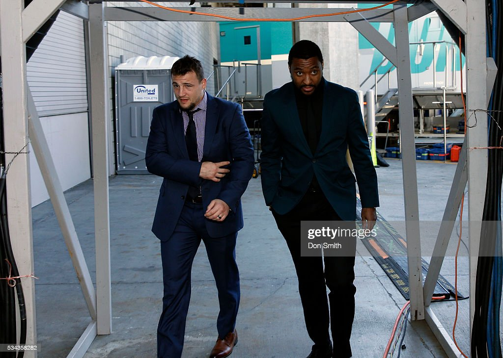 Joel Ward and Micheal Haley#38 of the San Jose Sharks walk into the SAP Center before their game against the St Louis Blues in game six of the...