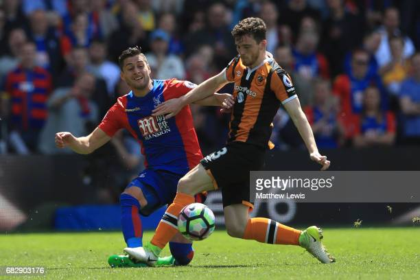 Joel Ward of Crystal Palace and Andrew Robertson of Hull City compete for the ball during the Premier League match between Crystal Palace and Hull...