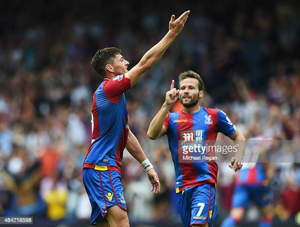 Joel Ward of Crystal Palace celebrates scoring his team's opening goal with Yohan Cabaye of Crystal Palace during the Barclays Premier League match...