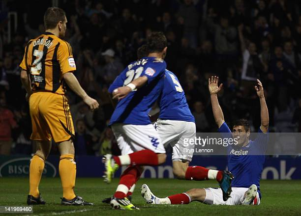 Joel Ward of Portsmouth celebrates scoring during the npower Championship match between Portsmouth and Hull City at Fratton Park on March 27 2012 in...