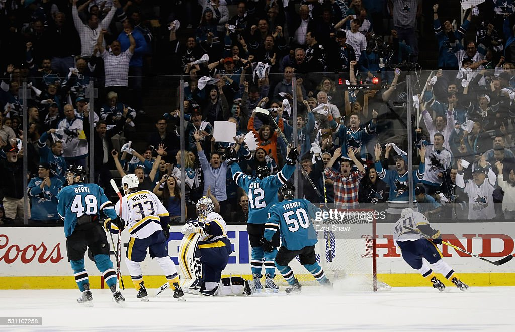 <a gi-track='captionPersonalityLinkClicked' href=/galleries/search?phrase=Joel+Ward+-+Ice+Hockey+Player&family=editorial&specificpeople=7231959 ng-click='$event.stopPropagation()'>Joel Ward</a> #42 of the San Jose Sharks celebrates after he scored a goal on <a gi-track='captionPersonalityLinkClicked' href=/galleries/search?phrase=Pekka+Rinne&family=editorial&specificpeople=2118342 ng-click='$event.stopPropagation()'>Pekka Rinne</a> #35 of the Nashville Predators in the first period of Game Seven of the Western Conference Second Round during the 2016 NHL Stanley Cup Playoffs at SAP Center on May 12, 2016 in San Jose, California.