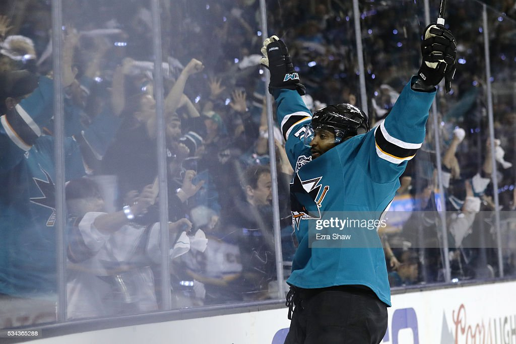 Joel Ward #42 of the San Jose Sharks celebrates after scoring on his second goal on Brian Elliott #1 of the St. Louis Blues in Game Six of the Western Conference Final during the 2016 NHL Stanley Cup Playoffs at SAP Center on May 25, 2016 in San Jose, California.