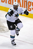 Joel Ward of the San Jose Sharks celebrates his goal against the Colorado Avalanche to tie the score 33 in the third period sending the game to...
