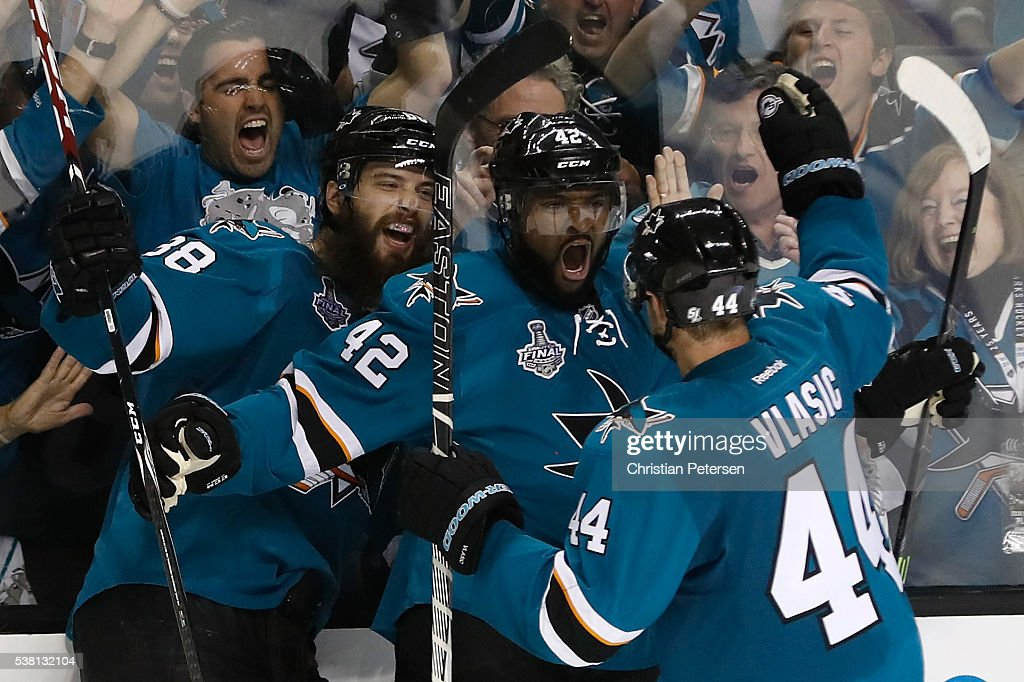 <a gi-track='captionPersonalityLinkClicked' href=/galleries/search?phrase=Joel+Ward+-+Ice+Hockey+Player&family=editorial&specificpeople=7231959 ng-click='$event.stopPropagation()'>Joel Ward</a> #42 of the San Jose Sharks celebrates with his teammates after scoring a goal against the Pittsburgh Penguins during the third period in Game Three of the 2016 NHL Stanley Cup Final at SAP Center on June 4, 2016 in San Jose, California.