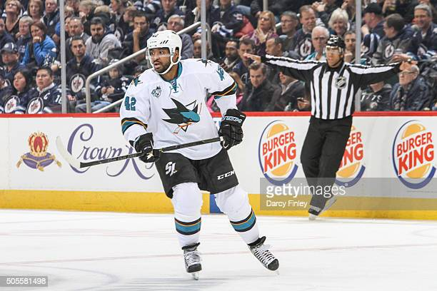 Joel Ward of the San Jose Sharks follows the play down the ice during second period action against the Winnipeg Jets at the MTS Centre on January 12...