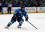 Joel Ward of the San Jose Sharks in action against the Anaheim Ducks at SAP Center on October 10 2015 in San Jose California