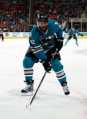 Joel Ward of the San Jose Sharks locates the puck against the Detroit Red Wings during a NHL game at the SAP Center at San Jose on January 7 2016 in...