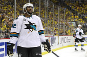 Joel Ward of the San Jose Sharks reacts during the second period against the Pittsburgh Penguins in Game One of the 2016 NHL Stanley Cup Final at...