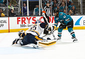 Joel Ward of the San Jose Sharks scores the goal on the deke against Pekke Rinne of the Nashville Predators in game one of the Western Conference...