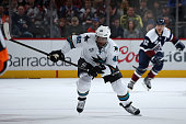 Joel Ward of the San Jose Sharks skates against the Colorado Avalanche at Pepsi Center on February 24 2016 in Denver Colorado The Avalanche defeated...