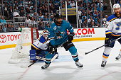 Joel Ward of the San Jose Sharks skates against the St Louis Blues in Game Three of the Western Conference Finals during the 2016 NHL Stanley Cup...