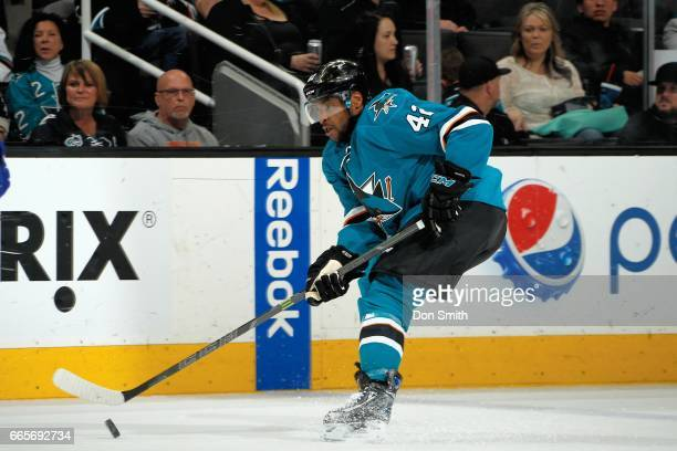 Joel Ward of the San Jose Sharks skates during a NHL game against the Vancouver Canucks at SAP Center at San Jose on April 4 2017 in San Jose...