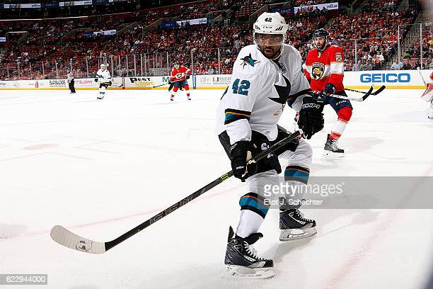 Joel Ward of the San Jose Sharks skates for position against the Florida Panthers at the BBT Center on November 10 2016 in Sunrise Florida