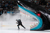 Joel Ward of the San Jose Sharks skates out from the shark's head during pregame introductions against the New Jersey Devils at SAP Center on March...