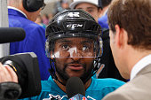 Joel Ward of the San Jose Sharks speaks with media after defeating the New York Rangers at SAP Center on March 19 2016 in San Jose California