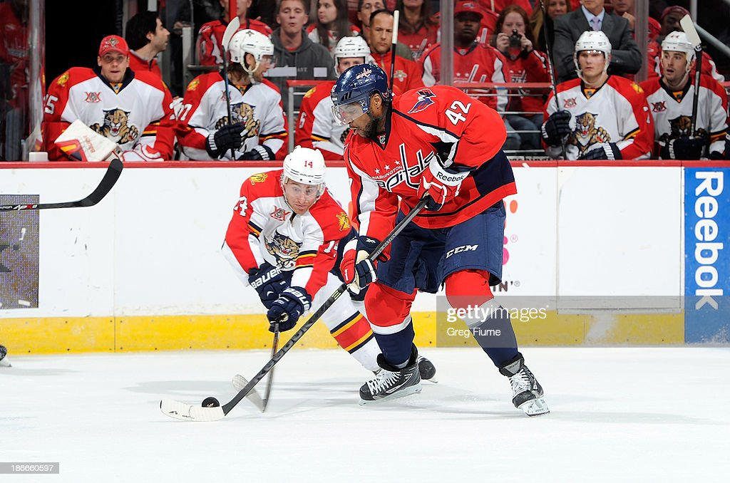 Joel Ward #42 of the Washington Capitals battles for the puck in the third period against <a gi-track='captionPersonalityLinkClicked' href=/galleries/search?phrase=Tomas+Fleischmann&family=editorial&specificpeople=554398 ng-click='$event.stopPropagation()'>Tomas Fleischmann</a> #14 of the Florida Panthers at the Verizon Center on November 2, 2013 in Washington, DC.