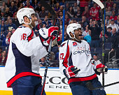 Joel Ward of the Washington Capitals celebrates a goal against the Tampa Bay Lightning the Amalie Arena on December 9 2014 in Tampa Florida