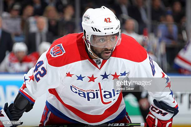 Joel Ward of the Washington Capitals looks on during a faceoff against the New York Rangers in Game Five of the Eastern Conference Semifinals during...