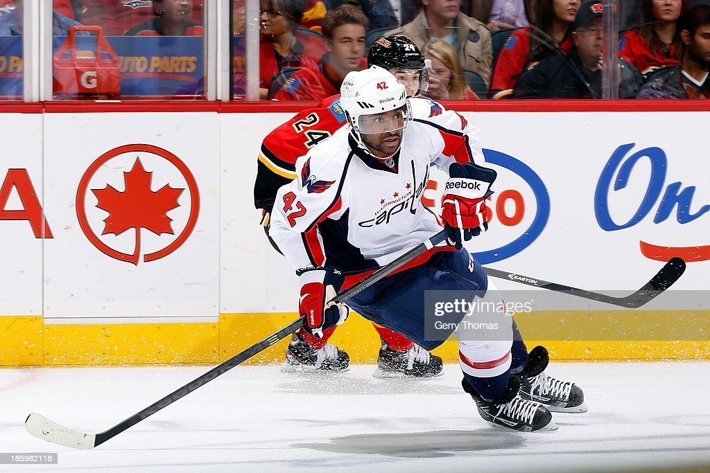 Joel Ward #42 of the Washington Capitals skates against the Calgary Flames at Scotiabank Saddledome on October 26, 2013 in Calgary, Alberta, Canada.