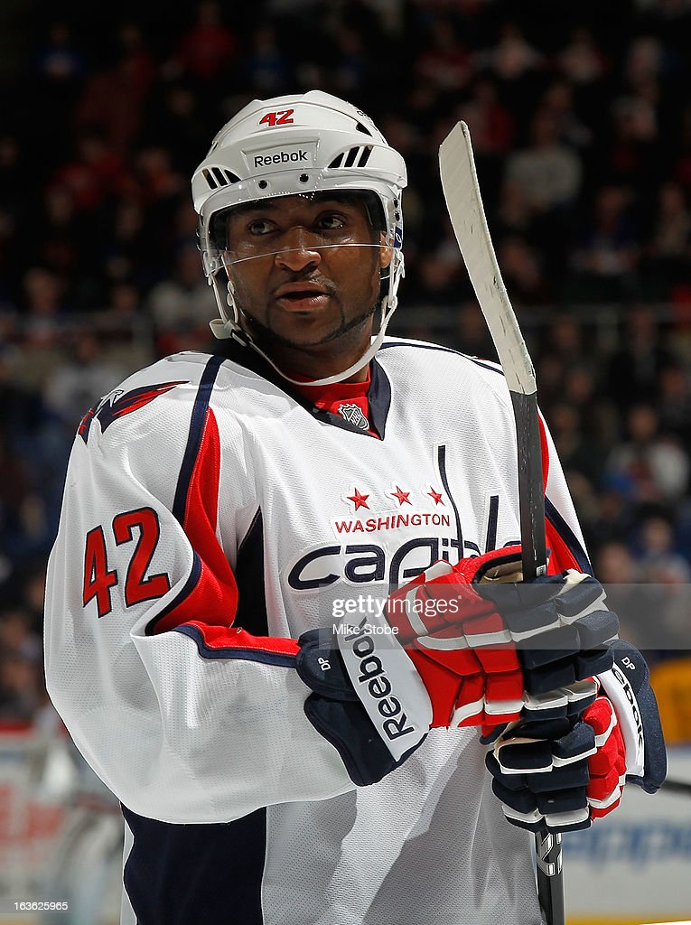 Joel Ward #42 of the Washington Capitals skates against the New York Islanders at Nassau Veterans Memorial Coliseum on March 9, 2013 in Uniondale, New York. The Islanders defeated the Capitals 5-2.