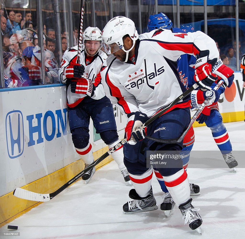 Joel Ward #42 of the Washington Capitals skates for the puck in the second period against the New York Rangers in Game Five of the Eastern Conference Semifinals during the 2012 NHL Stanley Cup Playoffs at Madison Square Garden on May 7, 2012 in New York City.