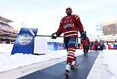 Joel Ward of the Washington Capitals walks to the locker room after warmup prior to their 2015 Bridgestone NHL Winter Classic game against the...