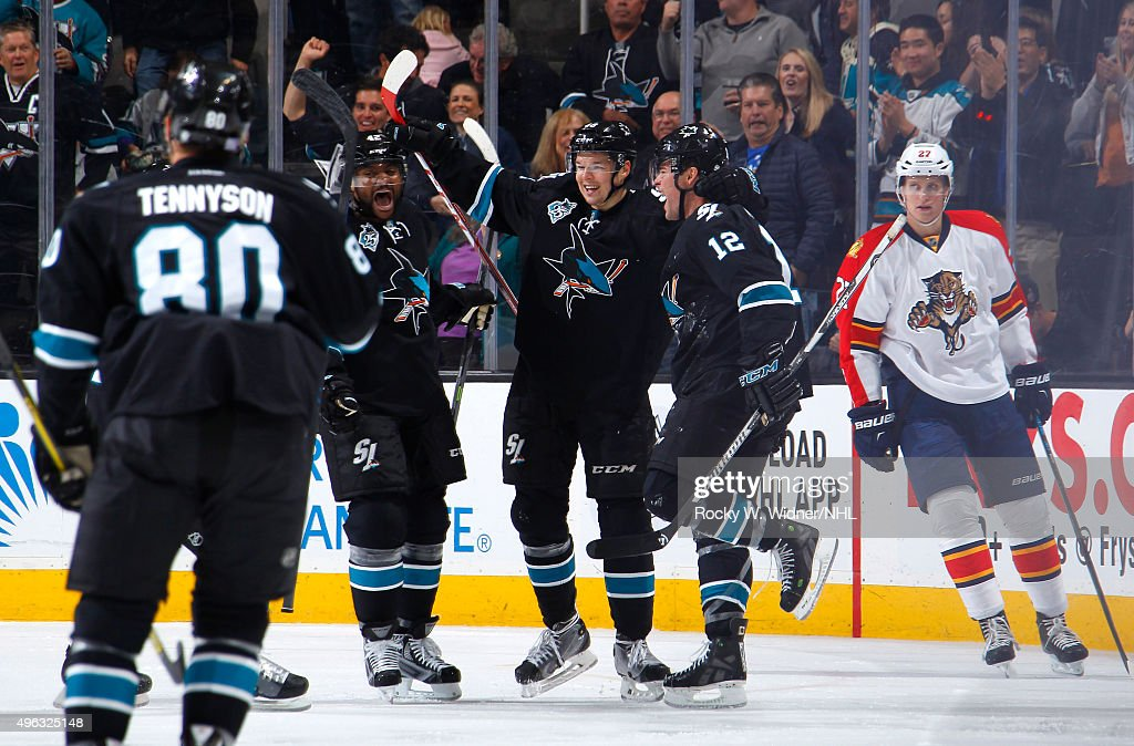 <a gi-track='captionPersonalityLinkClicked' href=/galleries/search?phrase=Joel+Ward+-+Ice+Hockey+Player&family=editorial&specificpeople=7231959 ng-click='$event.stopPropagation()'>Joel Ward</a> #42, <a gi-track='captionPersonalityLinkClicked' href=/galleries/search?phrase=Tomas+Hertl&family=editorial&specificpeople=8761287 ng-click='$event.stopPropagation()'>Tomas Hertl</a> #48 and <a gi-track='captionPersonalityLinkClicked' href=/galleries/search?phrase=Patrick+Marleau&family=editorial&specificpeople=203165 ng-click='$event.stopPropagation()'>Patrick Marleau</a> #12 of the San Jose Sharks celebrate after scoring a goal against the Florida Panthers at SAP Center on November 5, 2015 in San Jose, California.