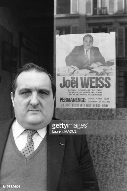 Joel Weiss ancien Conseiller de Paris ancien Delegue aupres du Tribunal pour enfants lutte contre la prostitution des enfants le 16 avril 1985 Paris...