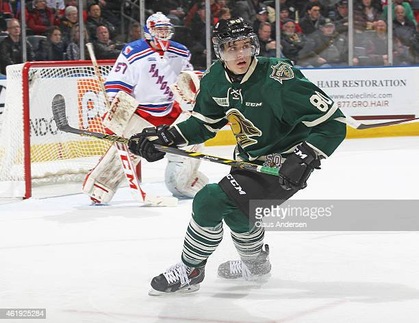 Joel Wigle of the London Knights skates against the Kitchener Rangers in an OHL game at Budweiser Gardens on January 20 2015 in London Ontario Canada...