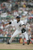 Joel Zumaya of the Detroit Tigers pitches against the Chicago White Sox on July 20 2006 at Comerica Park in Detroit Michigan The Tigers defeated the...