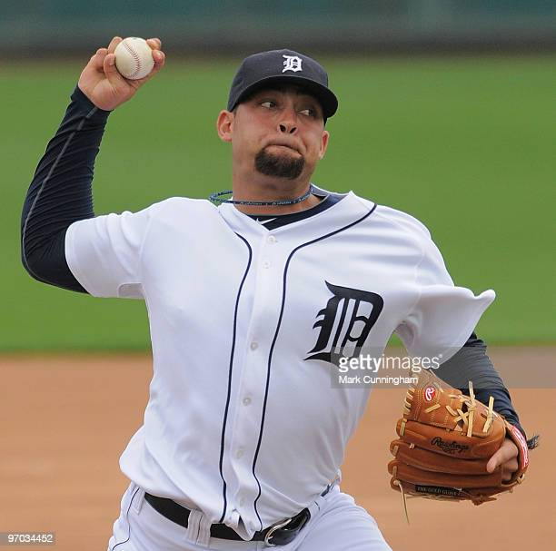 Joel Zumaya of the Detroit Tigers pitches during spring training workouts at Joker Marchant Stadium on February 24 2010 in Lakeland Florida