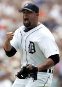 Joel Zumaya of the Detroit Tigers reacts after striking out Joe Crede of the Chicago White Sox to end the eighth inning on July 20 2006 at Comerica...