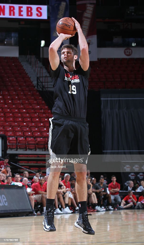 Joel Freeland #19 of the Portland Trail Blazers goes for a jump shot during the NBA Summer League game between the Atlanta Hawks and the Portland Trail Blazers on July 17, 2013 at the Thomas & Mack Center in Las Vegas, Nevada.